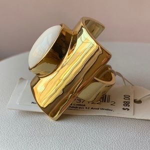 Trina Turk Jewelry - TRINA TURK Gold Tone And  White Agate/Onyx Ring